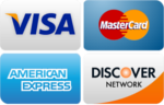 Visa, Mastercard, American Express and Discover accepted
